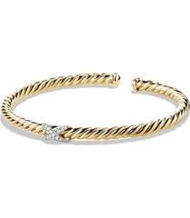 david yurman 'x - cablespira' bracelet with diamonds in 18k gold, size large at nordstrom