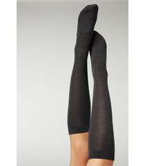 calzedonia tall wool and cotton socks woman grey size tu