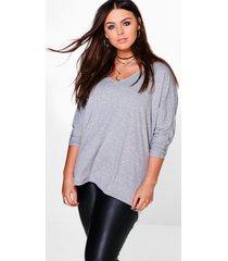 plus long sleeve basic t-shirt, grey
