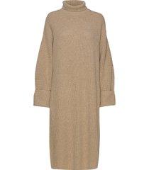 high neck midi length knit dress stickad klänning beige designers, remix