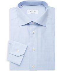 eton men's contemporary-fit check dress shirt - blue - size 15.5