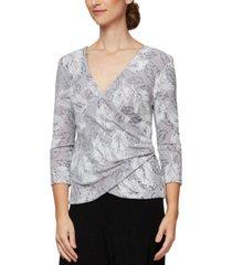 alex evenings metallic-knit printed surplice top