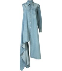 mm6 maison margiela asymmetric denim shirt dress - blue