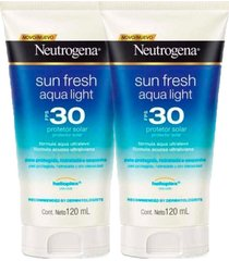 kit 2 protetor solar neutrogena sun fresh aqua light fps 30 120ml
