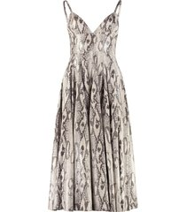 msgm python print faux leather dress