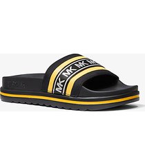 mk sandalo slide tyrain tessuto scuba con logo - girasole (giallo) - michael kors