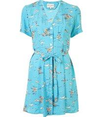 hvn rosemary tie-waist shirt dress - blue
