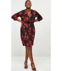 lane bryant women's floral faux-wrap fit & flare dress 22/24 red & black