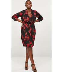 lane bryant women's floral faux-wrap fit & flare dress 26/28 red & black
