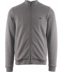 lacoste zip-up fleece sweatshirt - silver chine sh4317