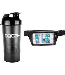 kit pochete esportiva fitness 5,5 dagg e coqueteleira dagg com 3 divisórias - preto