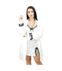 conjunto robe manga longa e camisola cetim yaries branco