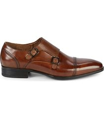 double monk-strap leather cap toe oxfords