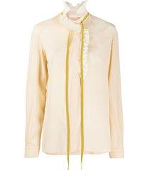 blouse à col plissé