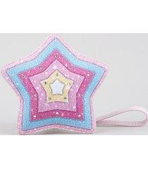 bolsa infantil estrela com brilho rosa claro