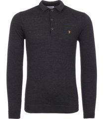 farah black maidwell knitted polo shirt f4gf6057-075