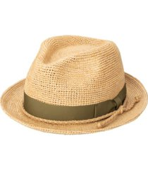 men's crochet raffia fedora with grosgrain bow band hat