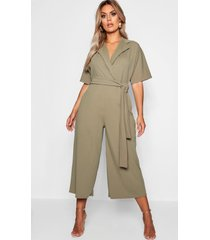 plus utility culotte jumpsuit, green
