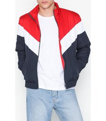 river island chevron padded liner jackor navy/red