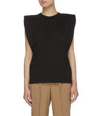 'eva' padded shoulder sleeveless cotton top