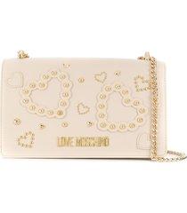 love moschino pouch slit shoulder handbag - neutrals