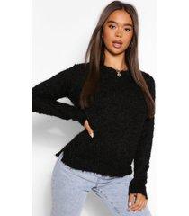 fluffy knit sweater, black