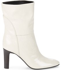 almond-toe leather booties