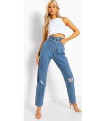 tall klassieke versleten high rise mom jeans, vintage blue