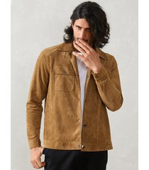 hombres casual turn down collar single breasted pocket chaquetas outwear