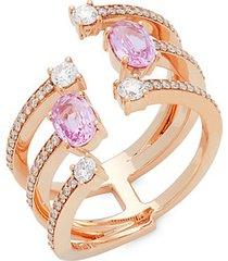 18k rose gold, pink sapphire & diamond midi ring