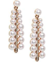kenneth jay lane women's goldtone faux pearl & crystal drop earrings