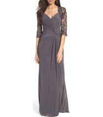 women's la femme ruched twist column gown, size 16 - grey