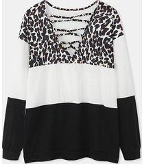 camicetta casual da donna a maniche lunghe patchwork con stampa leopardata