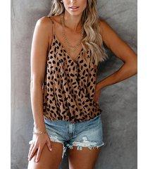 yoins abrigo de leopardo diseño camisola sin mangas con cuello en v