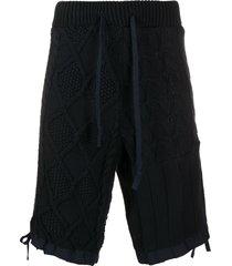 paul & shark cable knit drawstring shorts - blue