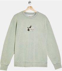 mens green sage collateral print sweatshirt