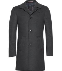 solid overcoat wollen jas lange jas zwart tommy hilfiger tailored