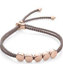 monica vinader engravable linear bead friendship bracelet in rose gold/mink at nordstrom