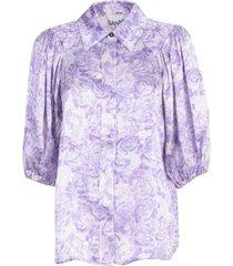 ganni heavy satin shirt 3/4s flowers fantasy