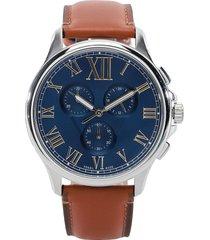 reloj café-azul-plateado fossil