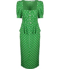 alessandra rich pois print dress with peplum