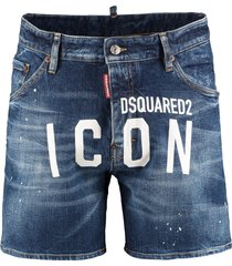 dsquared2 printed denim shorts