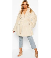 plus belted faux fur robe coat, sand