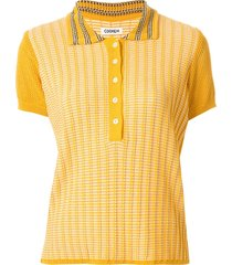 coohem knitted retro wave polo top - yellow