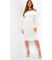zwangerschap overlay midi jurk met uitgesneden hals, white