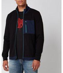 ps paul smith men's zip funnel neck sweatshirt - black - xxl