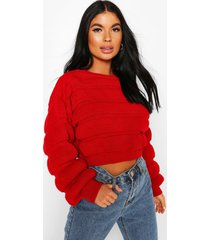petite bubble knit sweater, red