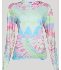 blusão de moletom feminino tie dye com capuz canguru off white