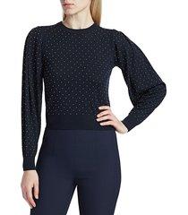 michael kors women's puff-sleeve studded merino wool sweater - midnight - size m