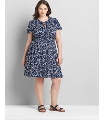 lane bryant women's flutter-sleeve shirred-waist fit & flare dress 14/16 windswept floral